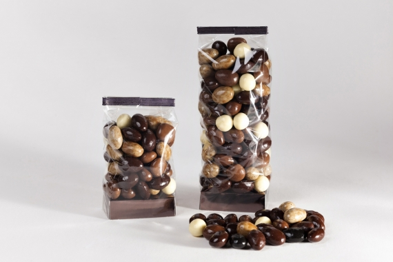 Almonds & Hazelnuts, coated in white, milk or dark chocolate