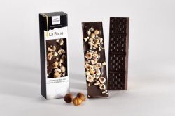 Dark chocolate bar with whole hazelnuts and olive oil 1.4%